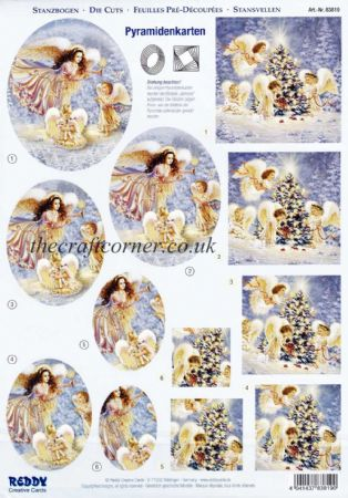 Angels Around The Christmas Tree Die Cut 3d Decoupage Pyramid Double Pack